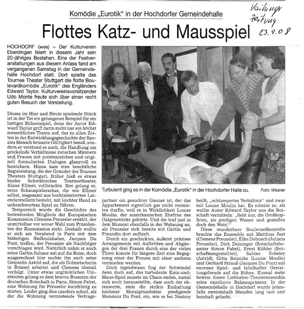 Vaihinger Zeitung 29.09.2008 | ...ganze Kritik